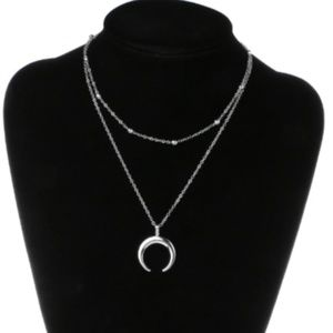 NWT BOHO Double Layer Crescent Moon Necklace
